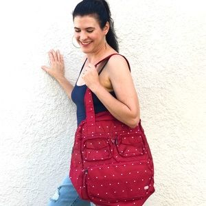 LUG Puddle Jumper Packable Red Polka Dot Tote New